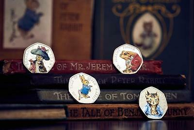 1 FULL SET BEATRIX POTTER  MR JEREMY FISHER  SILVER proof 2017 new  50 P COIN