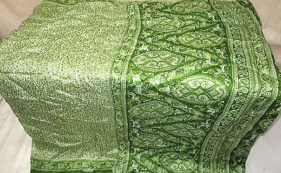 Cream Green Pure Silk 4 yd Vintage Sari Saree happy shopping Pallu Formal #EQHJK