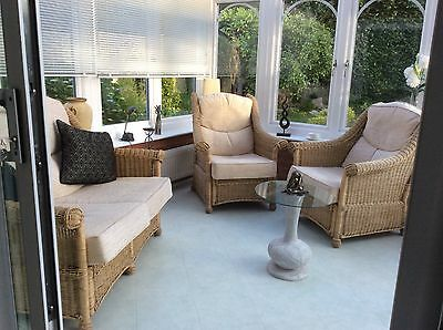conservatory 3 piece suite - natural cane with honey coloured chenille cushions.