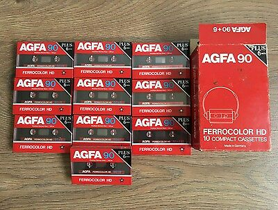 10 x Brand New AGFA 90+6 FERROCOLOR HD Blank Cassettes Tapes x 10 - Germany