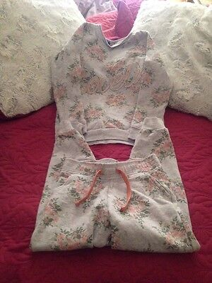 Girls Grey Flower Tracksuit Age 7-8 Years