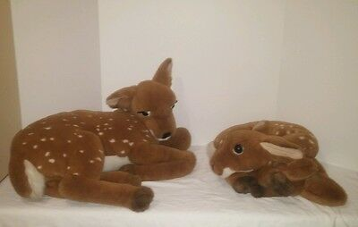 Rare Htf Pair Of Vintage 1989 Dakin Large Classique Stuffed Fawn Deer Plush