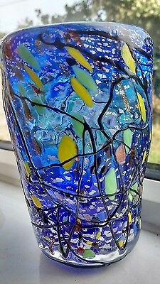 Cobalt blue art glass gold and silver flecks with red and yellow added detail