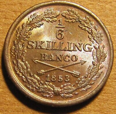 Nice Original Sweden 1853 1/6 Skilling! Pretty Choice BU with Toning & Luster!