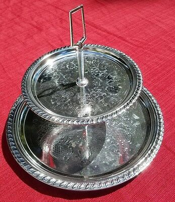 VINTAGE IRVINWARE Shelton-Ware Made in USA Silver Polished Chrome 2 Tier Tray