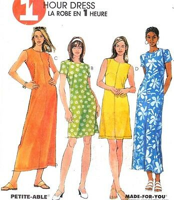 Vtg 90s McCALL'S Pattern #8730 One Hour Dress Semi-Fitted 2 Lengths Size 6 8 10