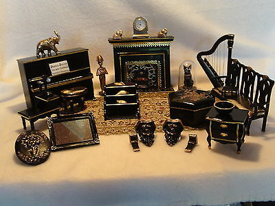 Dolls House Furniture Living / Music room 1:12 scale mixed lot