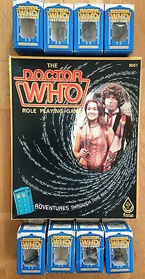 1985 Doctor Who FASA Role Playing Game + 8 UNOPENED BOXES of FIGURES RPG dalek