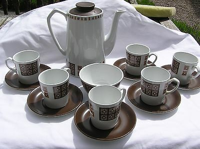Alfred Meakin vintage 70's white brown pattern coffee set pot 6 cups & saucers