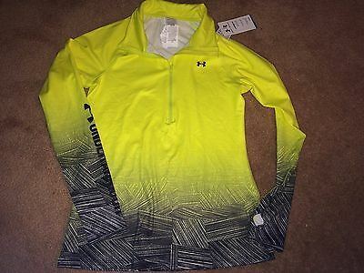 Women's Lg Under Armour Coldgear Fitted  L/s 1/4 Zip Neon Shirt. Nwt $75