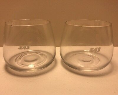 2-SAS Scandinavian Airlines System Small Wine Drinking Glasses