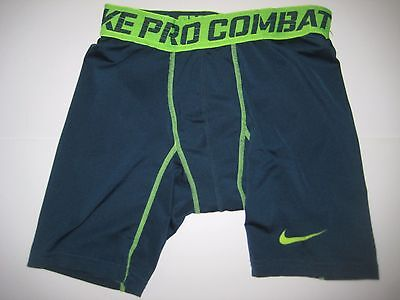 NIKE PRO COMBAT boys kids Compression shorts SMALL S W22 BASEBALL Soccer Green