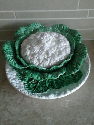 Vintage Majolica Cauliflower serving dish with lid