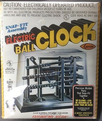 Vintage NIB ARROW ELECTRIC BALL CLOCK IN SEALED BOX w/ CELLOPHANE INTACT