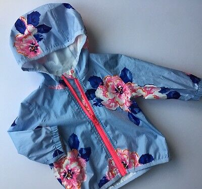 Baby Girl Summer Blue Floral Printed Jacket Raincoat JOULES Age 3-6 Months