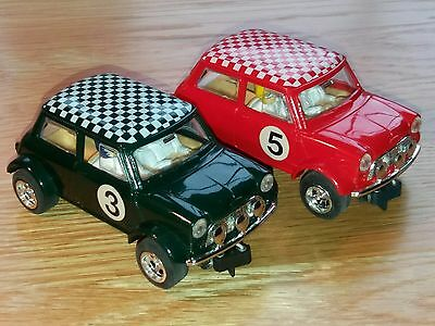 Vintage Scalextric Red Mini Cooper + Green Mini Cooper