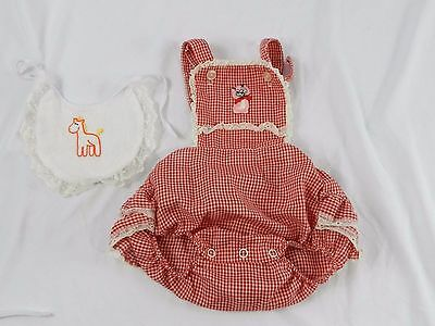 Vtg Baby Girls Ruffle Sun-Suit Romper Red White Check Lace Ruffle Pink Kitty Cat