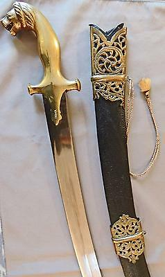 INDIAN SHAMSHIR SWORD with LION HEAD POMMEL Brass-Decorated LEATHER SCABBARD