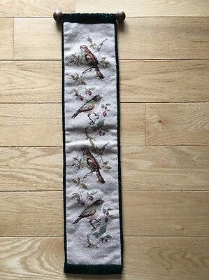 "NEEDLEPOINT PETIT POINT WALL HANGING BIRDS 29""x 6.5"" BELL PULL Green Velvet Wood"