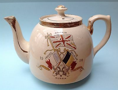 World War 1 1914 Commemorative Teapot United We Stand Slogan, Flags and Flowers