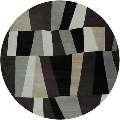 8' Round Plush Contemporary Modern Abstract Black Gray Hand Tufted Area Rug