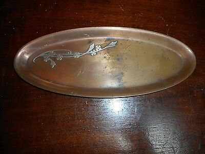 An Arts & Crafts Heintz Pen Holder/card Plate Sterling On Bronze #1009 1912-1930