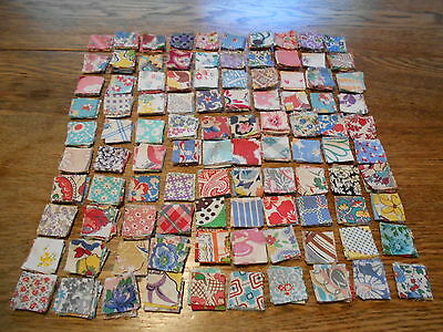 Vintag Antique 1000 Postage Stamp Quilt Block Feed Sack Cotton 1 1/4X1 1/4 1930s