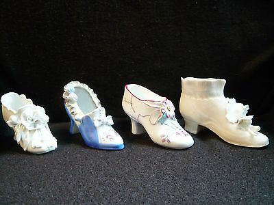 Lot Of 4 China Porcelain Ornamental Collectable Shoes - Victorian