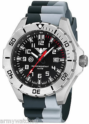 KHS Tactical Army Watches Landleader Steel Date C1-Light Silicone KHS.LANS.DC3