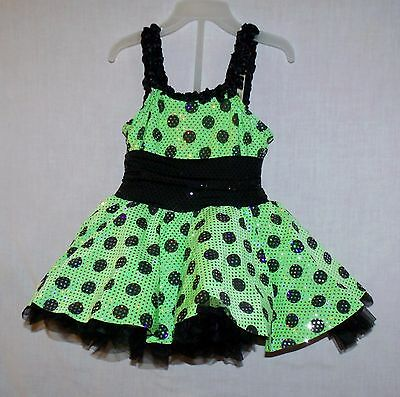 Adorable / Pretty Green and Black Polka dot Dress up Size 3T