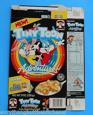 1990/1 TINY TOONS ADVENTURES FLAT CEREAL BOX WARNER BROS FAN CARDS 9 oz QUAKER
