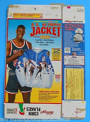 1992 Usa Olympic Basketball Cereal Box Gold Medalist Bird Malone Robinson Mullin