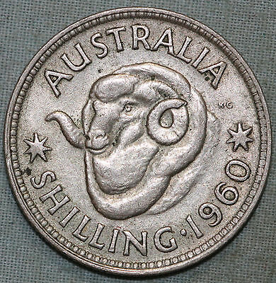 Australia 1960 QEII One Shilling Silver Coin~Combined S.& H.