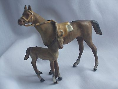 Antique Cold Painted Spelter Model Thoroughbred Horse With Foal