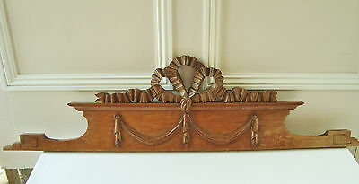 Superb Antique French Wooden Pediment Furniture Mount Carved Ribbon Louis Xvi