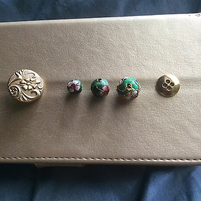 CLOISONNE BEADS X 3 Plus 2 GOLD (PLATE?) BUTTONS / Various Sizes / Never Used