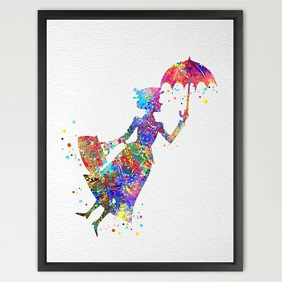 Dignovel Studios 13X19 Mary Poppins Inspired Watercolor illustration Art Print