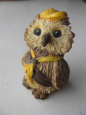 1990s Owl figurine in Brownie uniform, Brownie Girl Guide memorabilia