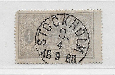 Sweden 4o grey official (1877), Scott O2, Facit TJ2, with lux cancel