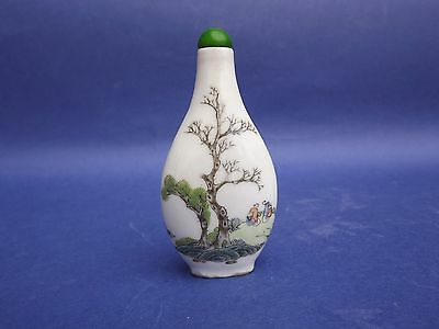 Chinese Porcelain  Snuff Bottle With Calligraphy