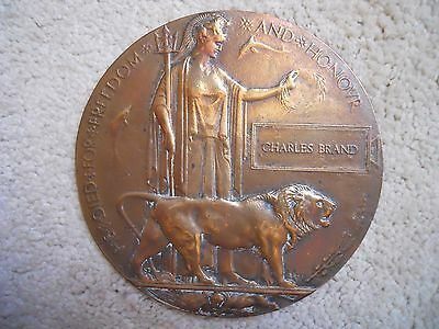 Ww1 Plaque Charles Brand Original Full Size ;;;;;;;;;;;;;;;;;;