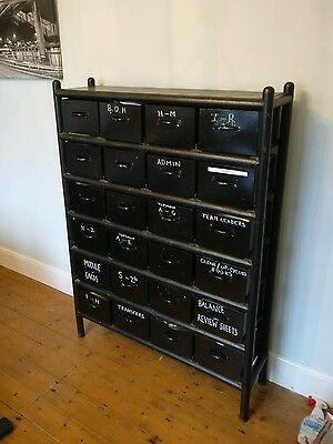 Vintage metal haberdashery shop display metal drawers