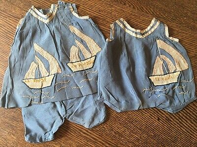 VINTAGE TWO SILK SAILOR ROMPER, May Be A Child's OR For Schoenhut or other Dolls
