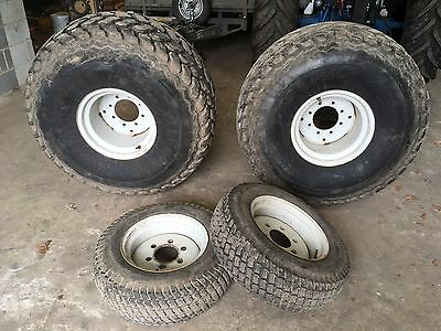 Compact tractor (Ford 2120) full set of turf tyres and rims.
