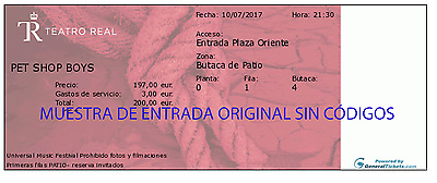 Pet Shop Boys Super Tour 2017 - Ticket Teatro Real, Madrid - Fila 1 Centro