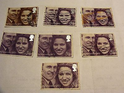 Gb 1977 Princess Anne And Mark Phillips Wedding Stamps