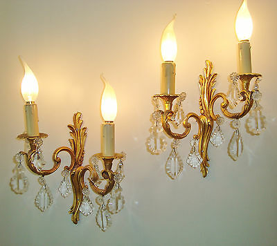 Gorgeous Pair Vintage French Sconces Crystal & Glass Droplets Quality Bronze