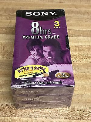 3 Pack SONY T-160VF 8 Hr Premium Grade Blank Video VHS Tapes NEW AND SEALED