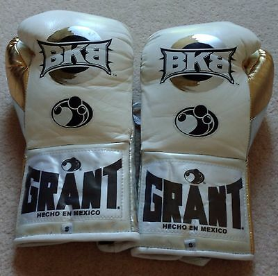 Grant Boxing BKB Gloves 8 oz Fight Worn MMA Pads Training Mitts Heavy Bag White