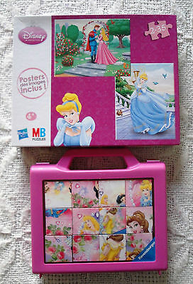 Lot Disney princesses: 1 puzzle ( 2x35) 1 valisette 12 cubes (6 mod)  / 4 ans+